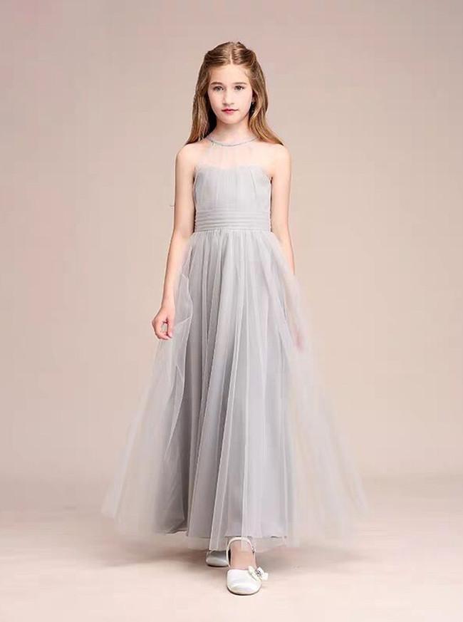 Silver A-Line Illusion Neck Long Tulle Junior Bridesmaid Dress,12110