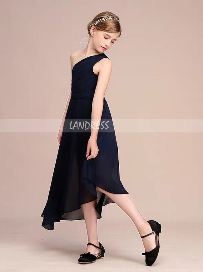 Dark Navy One Shoulder Chiffon Junior Bridesmaid Dress,12111