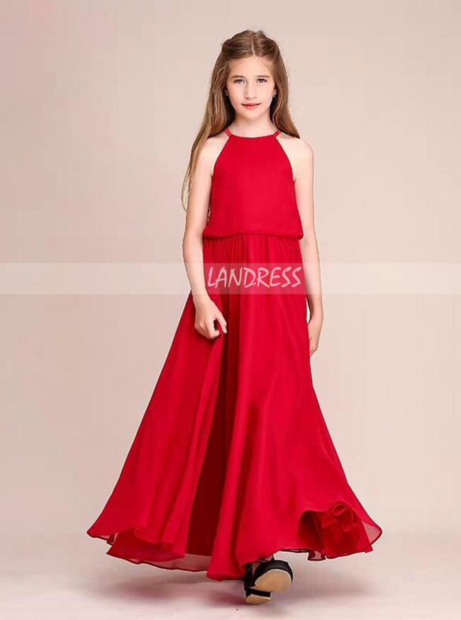 Elegant Red Chiffon Long Junior Bridesmaid Dress,12112