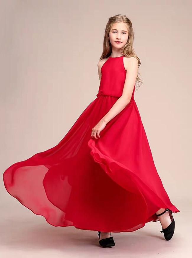 Elegant Red Chiffon Long Junior Bridesmaid Dress,12112