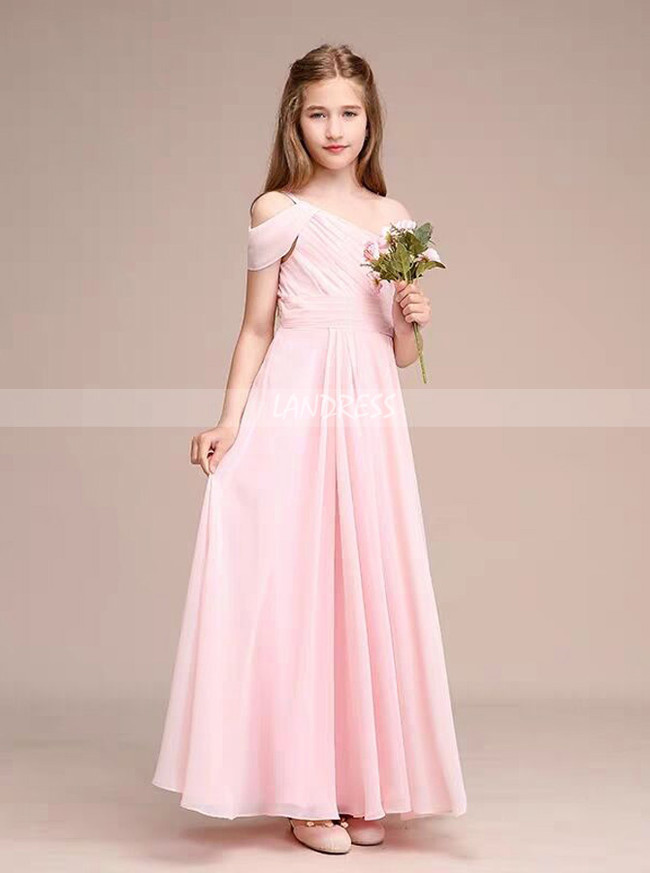 A-Line One-Shoulder Floor-Length Chiffon Pink Junior Bridesmaid Dress With Ruffle,12113
