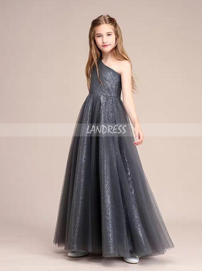 Stunning A-Line/Princess One-Shoulder Floor-Length Tulle Sequined Junior Bridesmaid Dress,12114