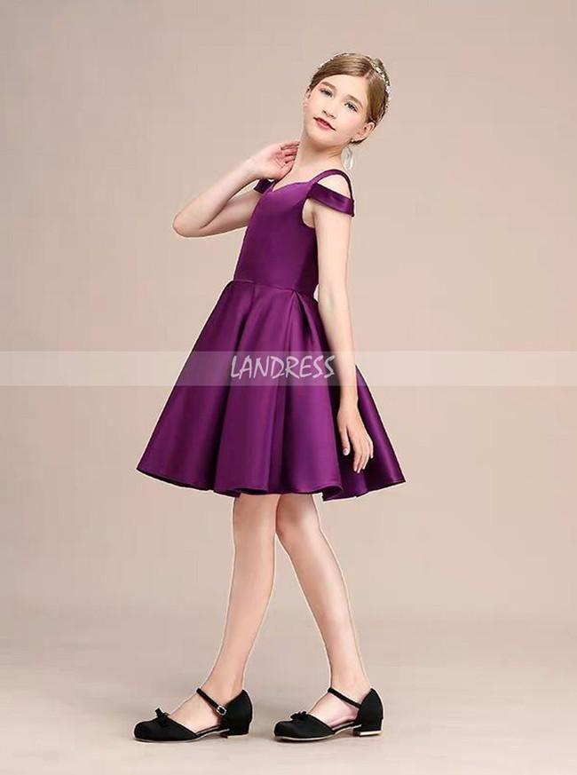 A-Line/Princess Short Satin Junior Bridesmaid Dress,12115