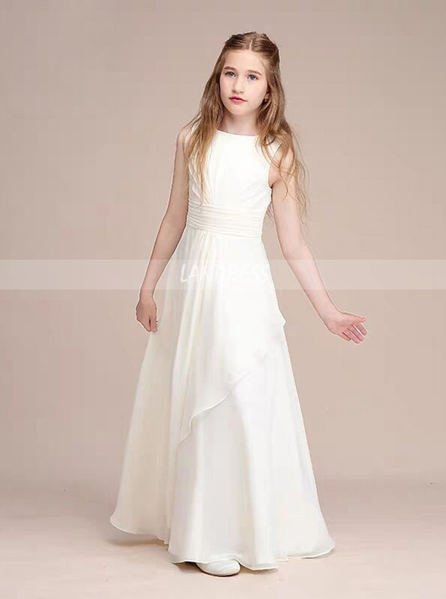 A-Line Scoop Neck Floor-Length Chiffon Junior Bridesmaid Dress With Cascading Ruffles,12116