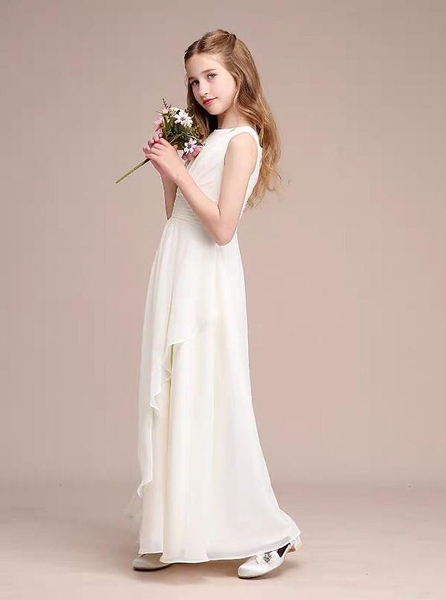 A-Line Scoop Neck Floor-Length Chiffon Junior Bridesmaid Dress With Cascading Ruffles,12116