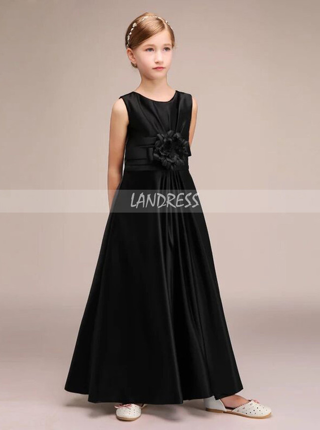 Black Satin Long Junior Bridesmaid Dress with Flower,12117
