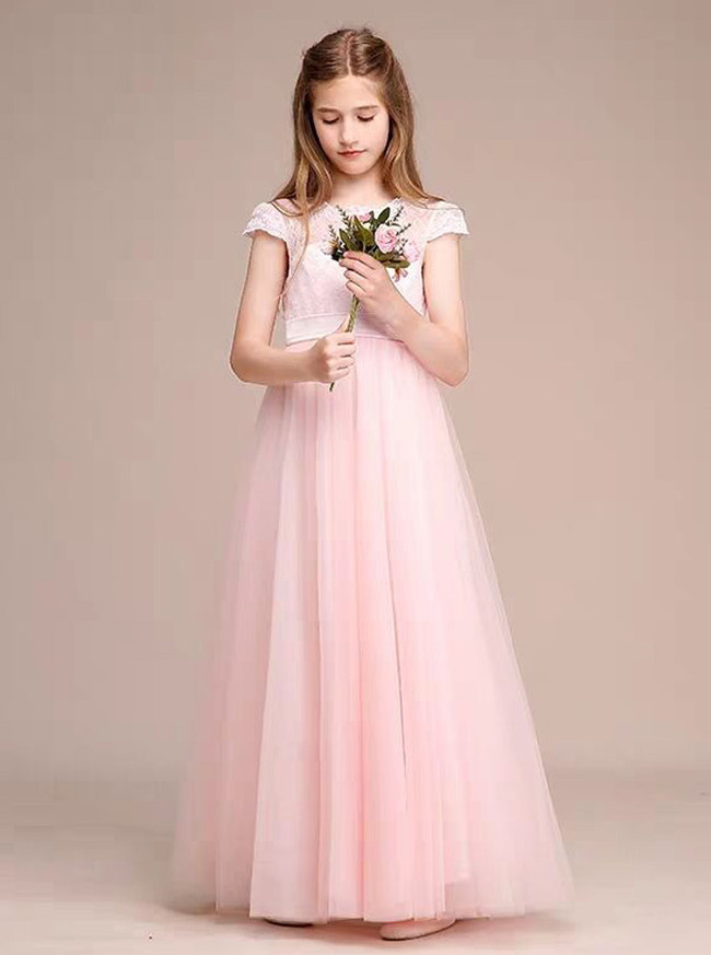 Princess A-line Pink Tulle Junior Bridesmaid Dress with Cap Sleeves,12118