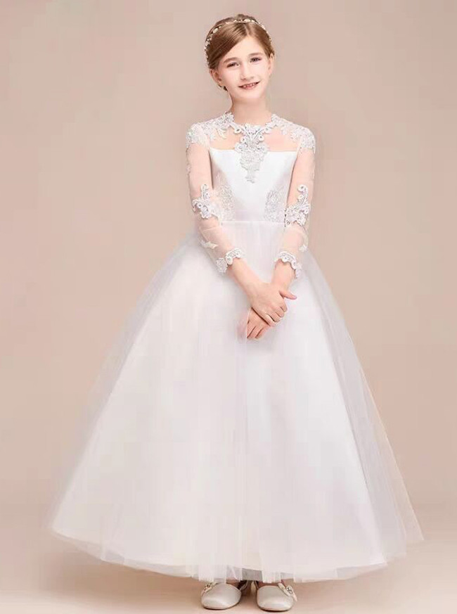 Ivory Princess High Neck Junior Bridesmaid / Flower Girl Dress with Illusion Sleeves,12119