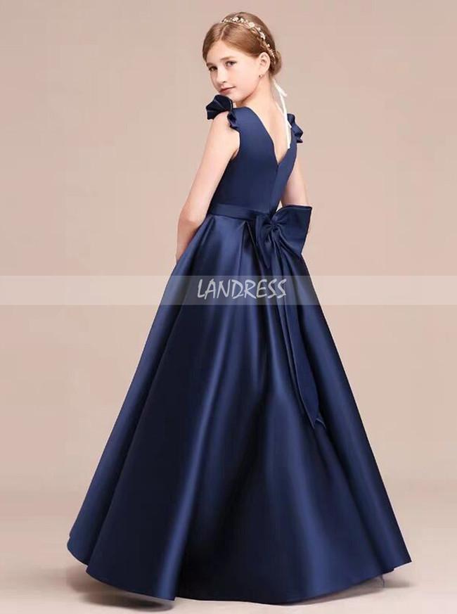 Dark Navy Scoop Neckline Satin Floor Length Junior Bridesmaid / Special Occasion Dress,12120