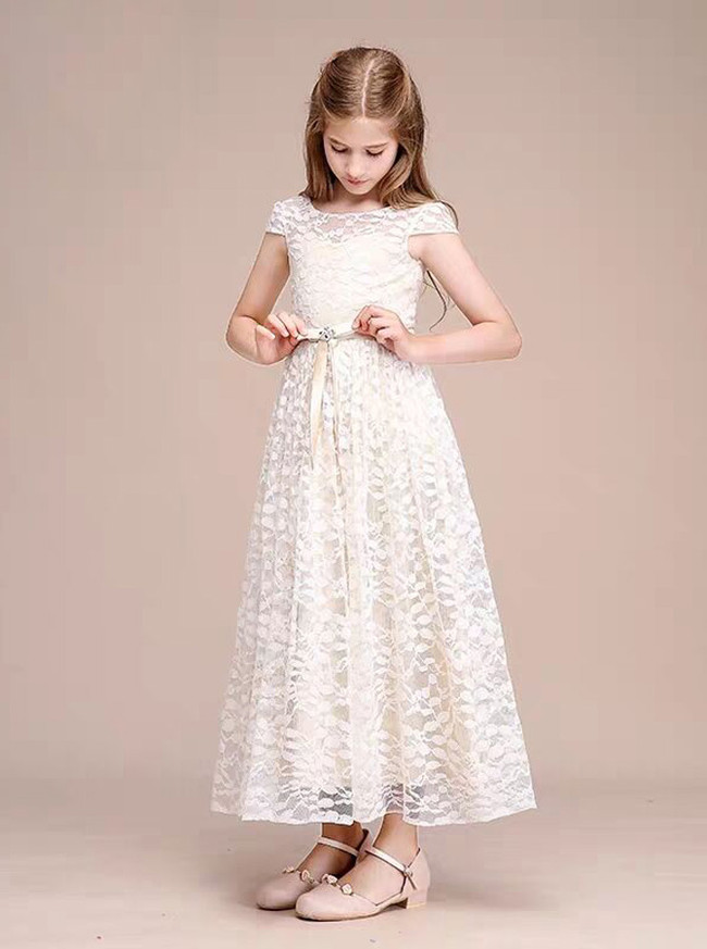 Ivory&Champagne Lace Ankle Length Junior Bridesmaid / Party Dress,12121