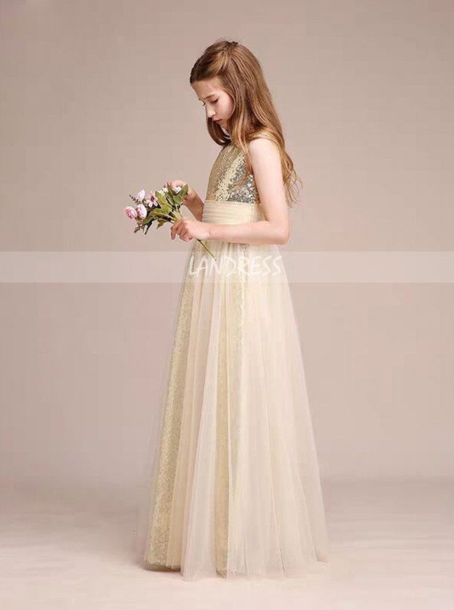 Stunning A-Line/Princess Scoop Floor-Length Tulle Sequined Junior Bridesmaid Dress,12122