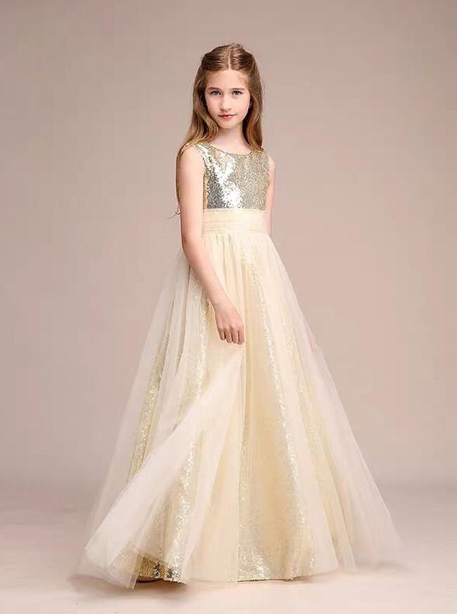 Stunning A-Line/Princess Scoop Floor-Length Tulle Sequined Junior Bridesmaid Dress,12122