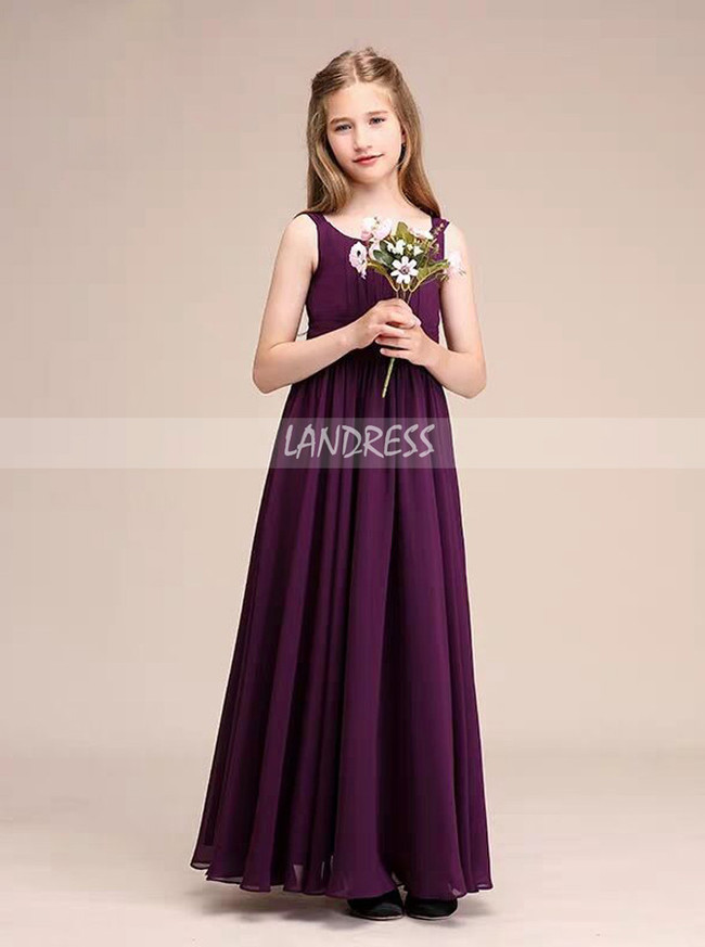 Grape Long Chiffon Junior Bridesmaid Dress with Straps,12123