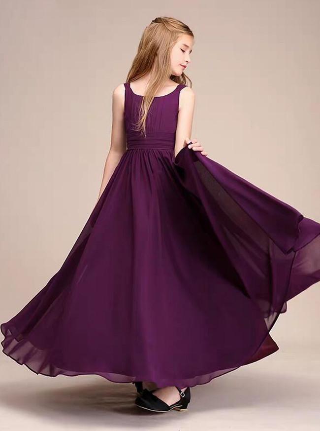 Grape Long Chiffon Junior Bridesmaid Dress with Straps,12123