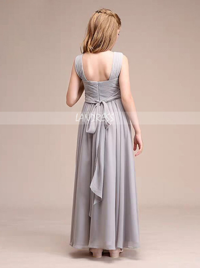 Silver A-Line V-neck Floor-Length Chiffon Junior Bridesmaid Dress,12124