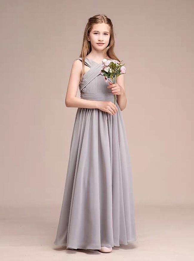 Silver A-Line V-neck Floor-Length Chiffon Junior Bridesmaid Dress,12124