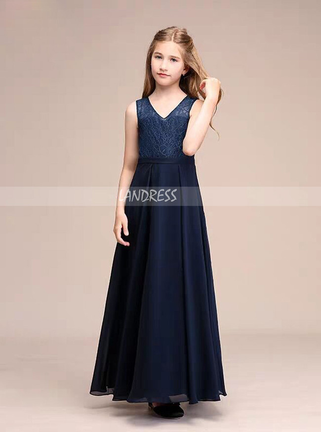 Dark Navy Lace and Chiffon Junior Bridesmaid Dress,12125
