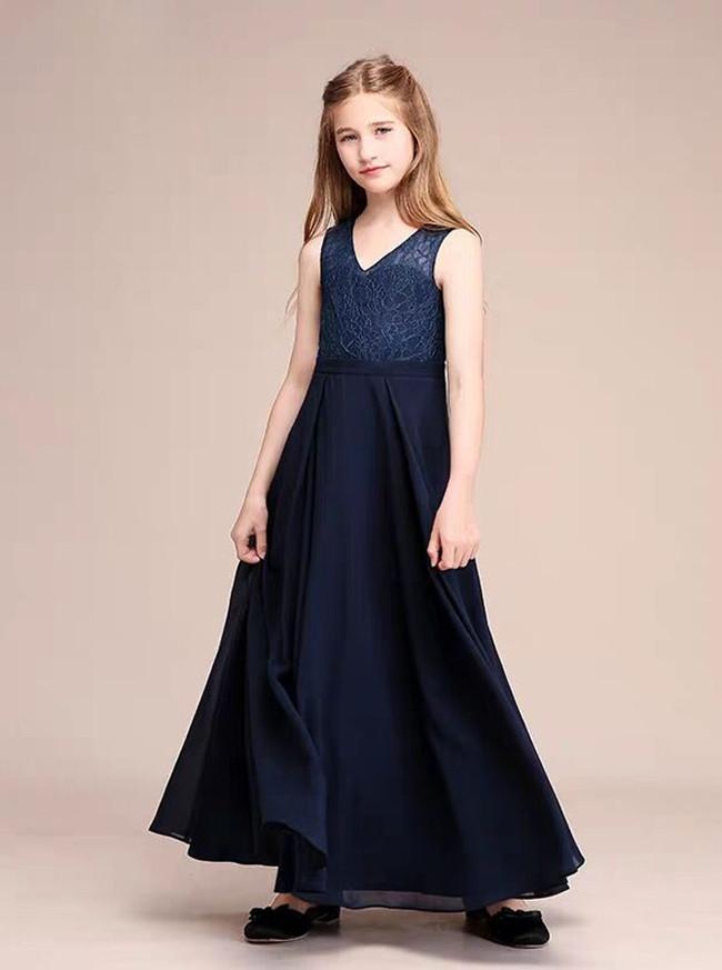 Dark Navy Lace and Chiffon Junior Bridesmaid Dress,12125