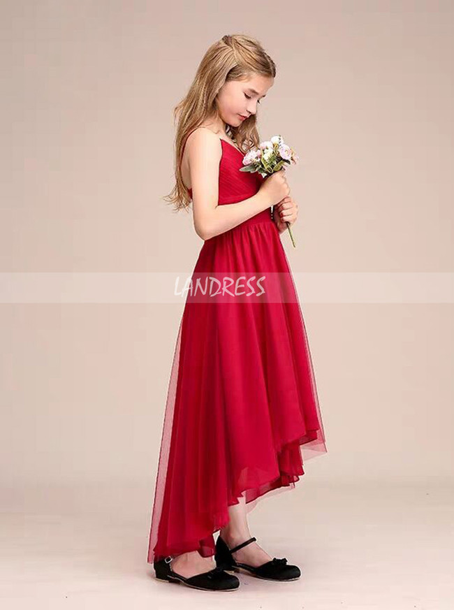 Red High Low Tulle Junior Bridesmaid / Party Dress,12127