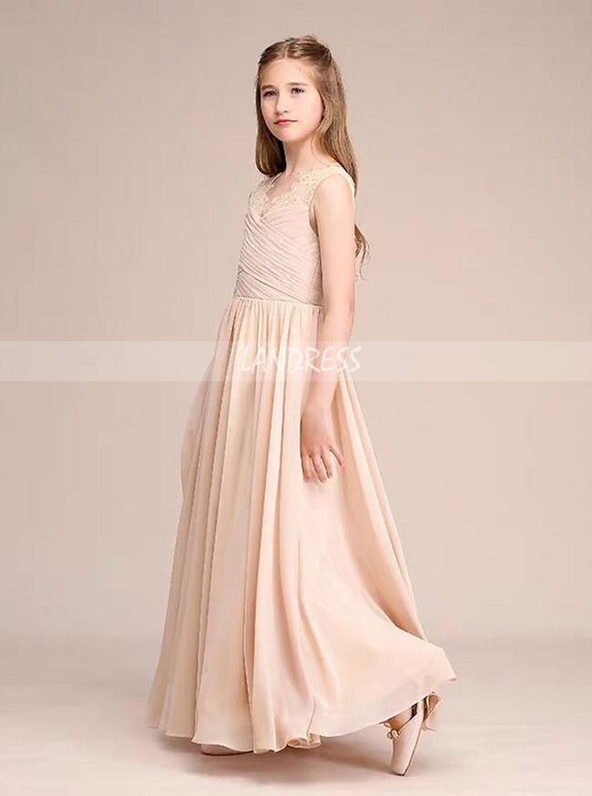 Champagne Chiffon Long Junior Bridesmaid Dress,12129