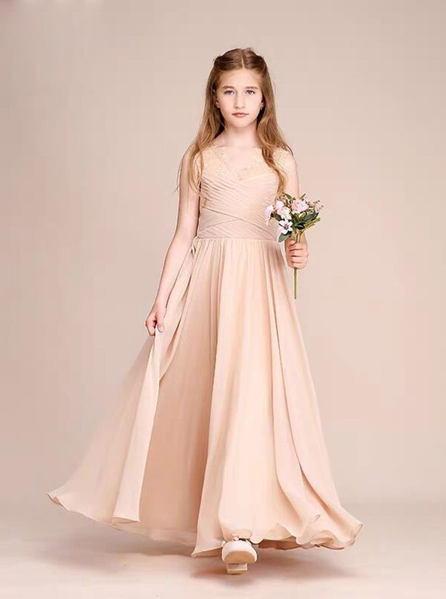 Champagne Chiffon Long Junior Bridesmaid Dress,12129
