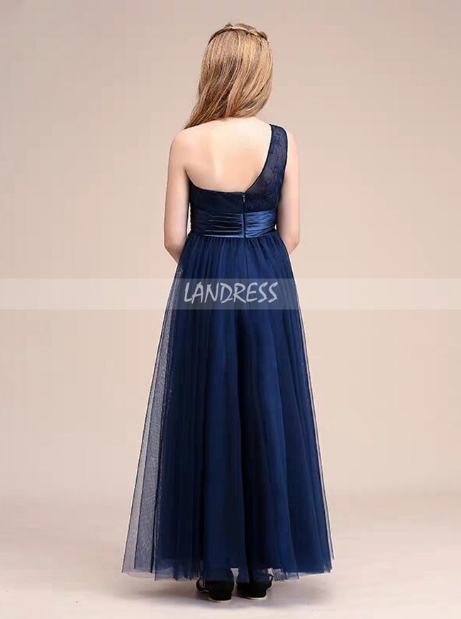 A-line One Shoulder Dark Navy Tulle Junior Bridesmaid Dress,12130