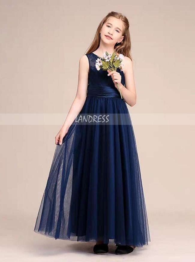 A-line One Shoulder Dark Navy Tulle Junior Bridesmaid Dress,12130