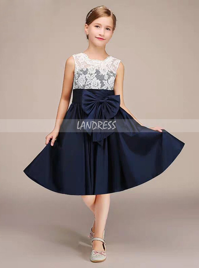 A-line Knee Length Lace and Taffeta Junior Bridesmaid Dress,12131