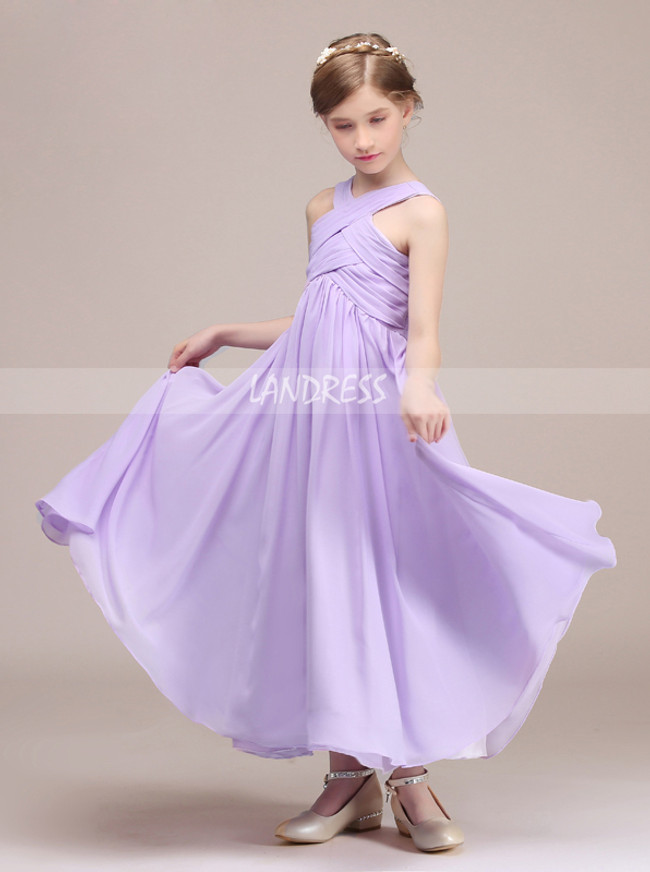 Lilac Chiffon Ankle Length Junior Bridesmaid Dress,12135