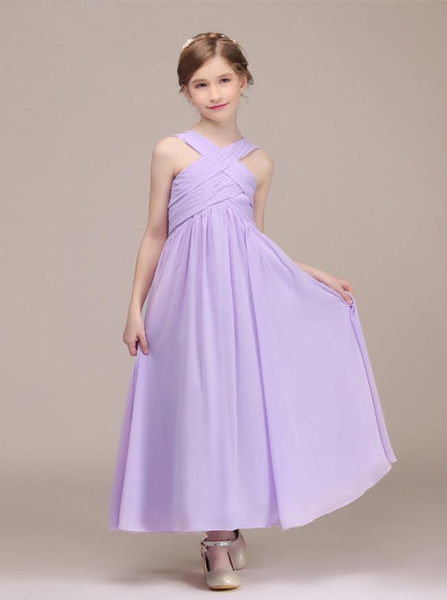 Lilac Chiffon Ankle Length Junior Bridesmaid Dress,12135