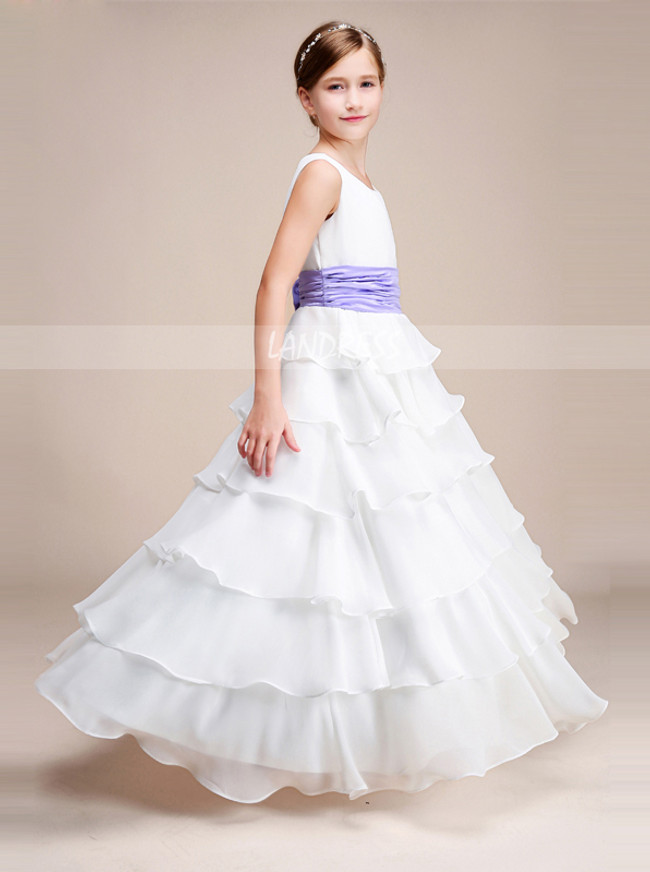 A-line Chiffon Layered Floor Length Junior Bridesmaid / Flower Girl Dress with Belt,12136