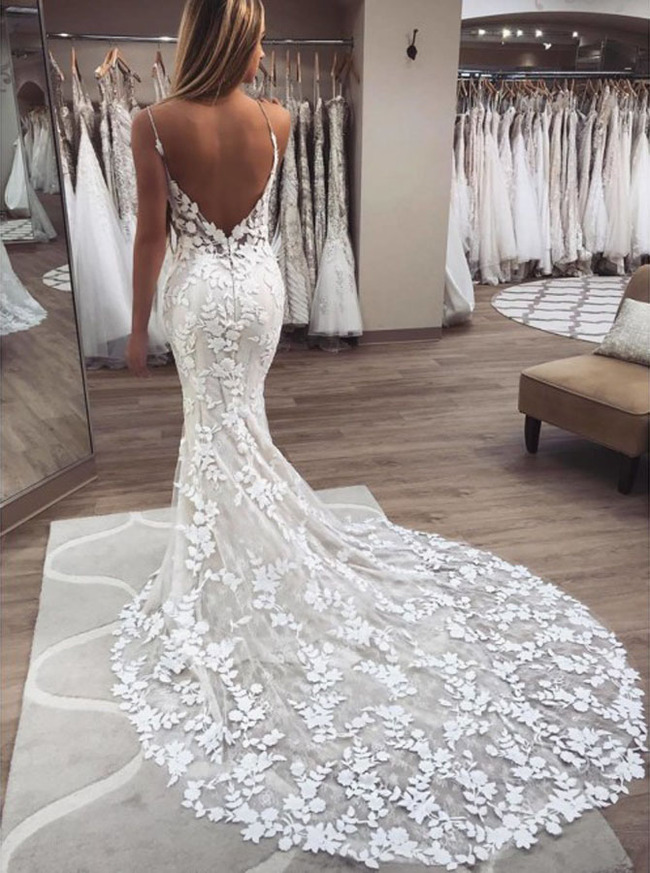 Lace Mermaid Wedding Dress with Spaghetti Straps,Destination Wedding Dress,12137