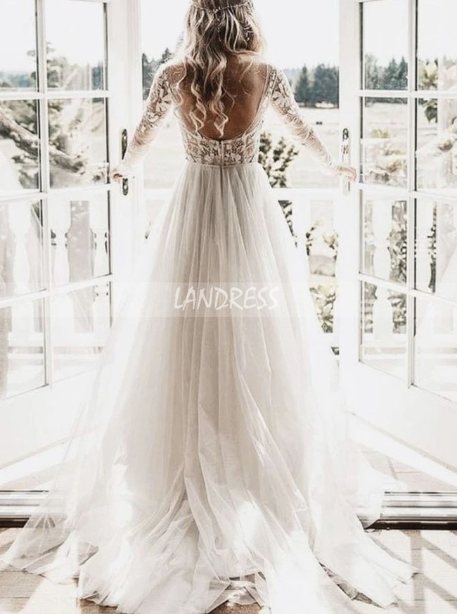 Boho Wedding Dress with Long Sleeves,Destination Tulle Wedding Dress,12138