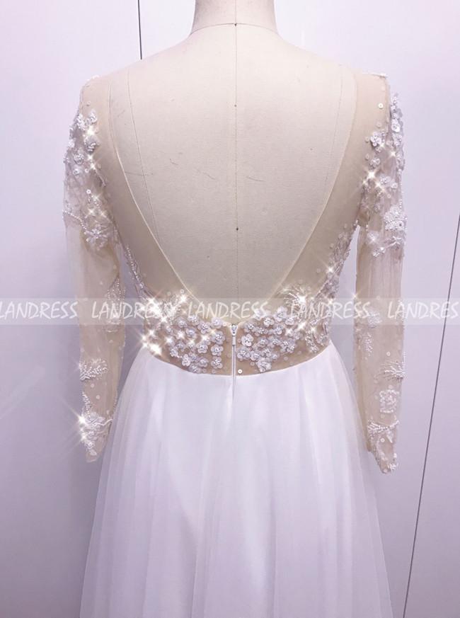 Boho Wedding Dress with Long Sleeves,Destination Tulle Wedding Dress,12138