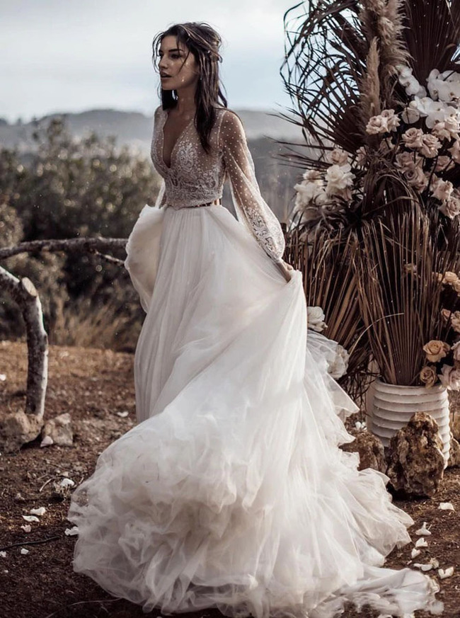 Romantic Wedding Dress with Illusion Sleeves,Two Piece Wedding Dress for Photo Shoot,12139