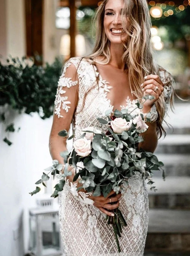 Boho Sheath Wedding Dress with Illusion Sleeves,Open Back Sexy Wedding Dress,12140