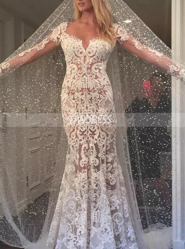 Mermaid Lace Wedding Dress with Long Sleeves,Boho Wedding Dress with Detachable train,12141