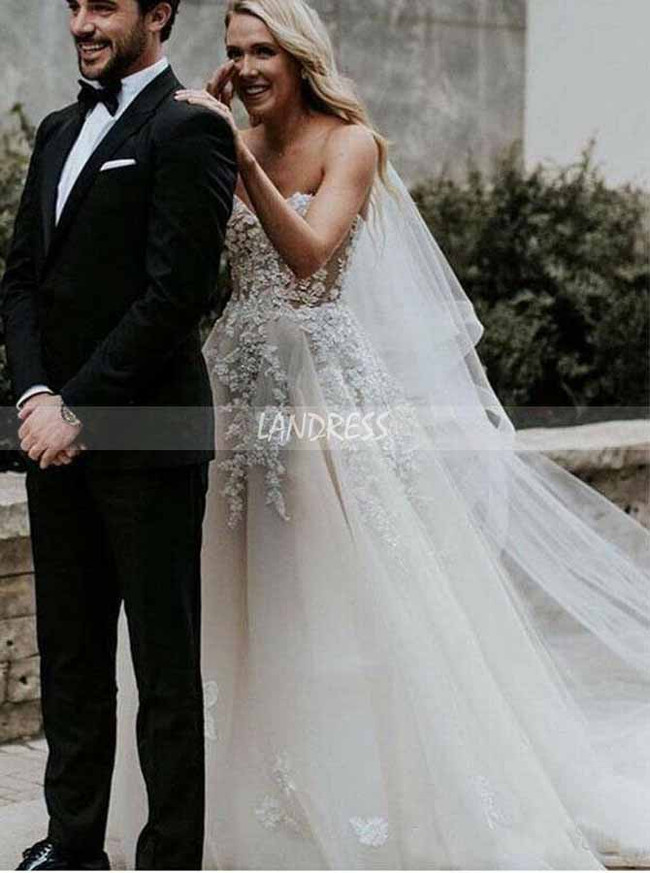 A-line Sweetheart Neck Wedding Dress,Stunning Bridal Dress for Wedding Photo Shoot,12142