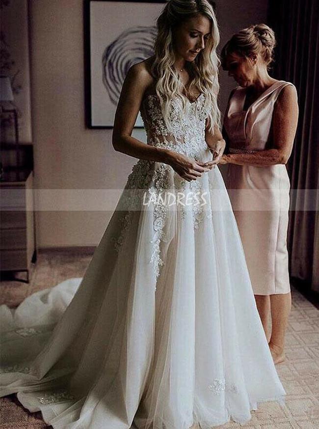 A-line Sweetheart Neck Wedding Dress,Stunning Bridal Dress for Wedding Photo Shoot,12142