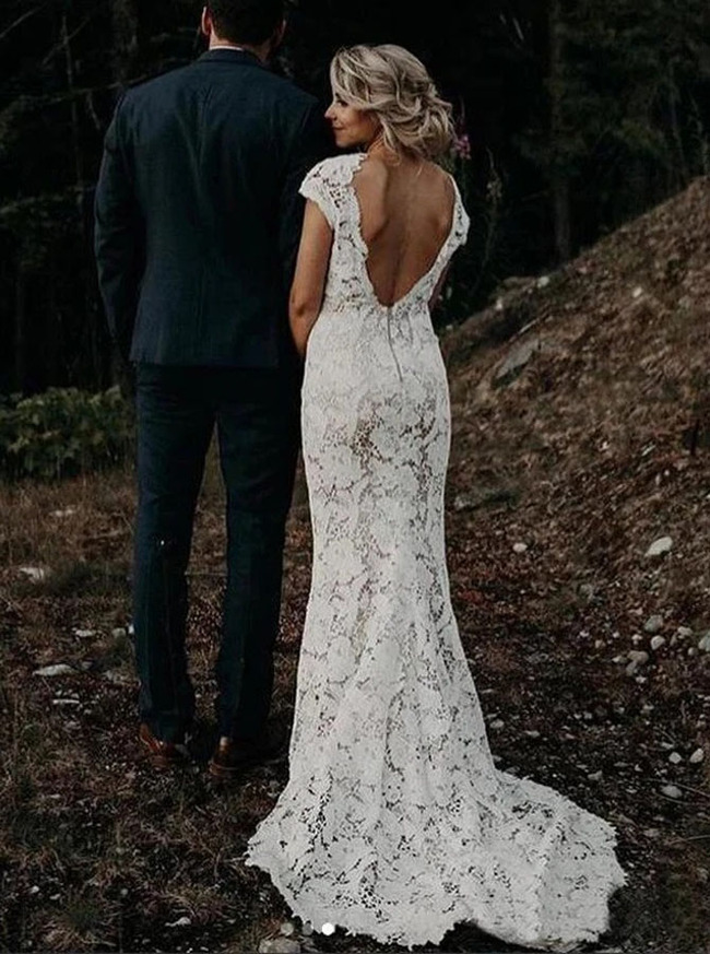 Boho Lace Wedding Dress,V-neck Destination Wedding Dress