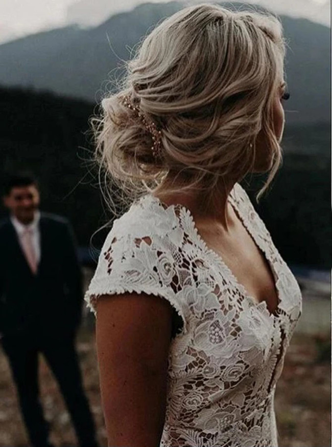 Boho Lace Wedding Dress,V-neck Destination Wedding Dress,12143
