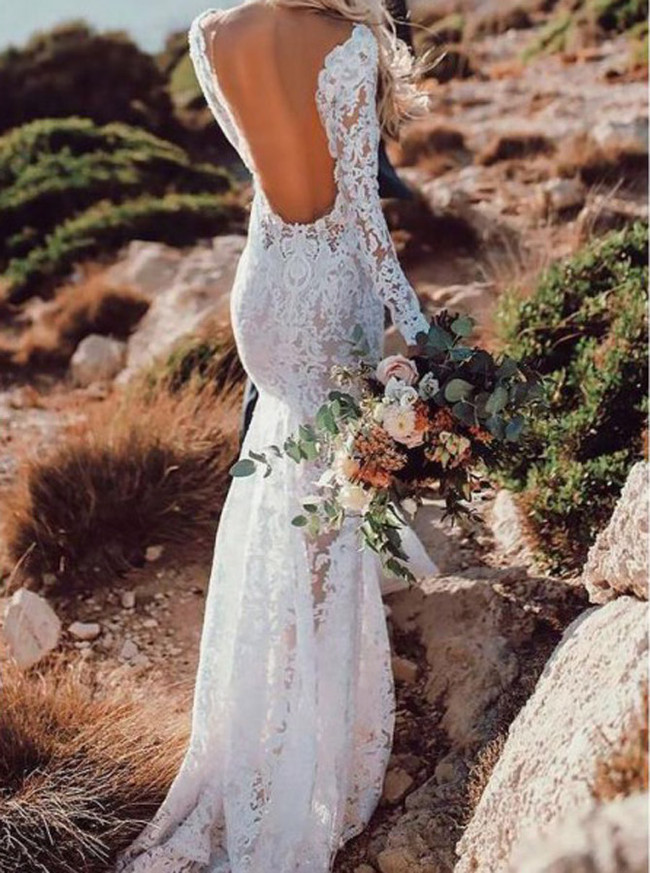 Destination Lace Wedding Dress,Open Back Wedding Dress with Long Sleeves,12144