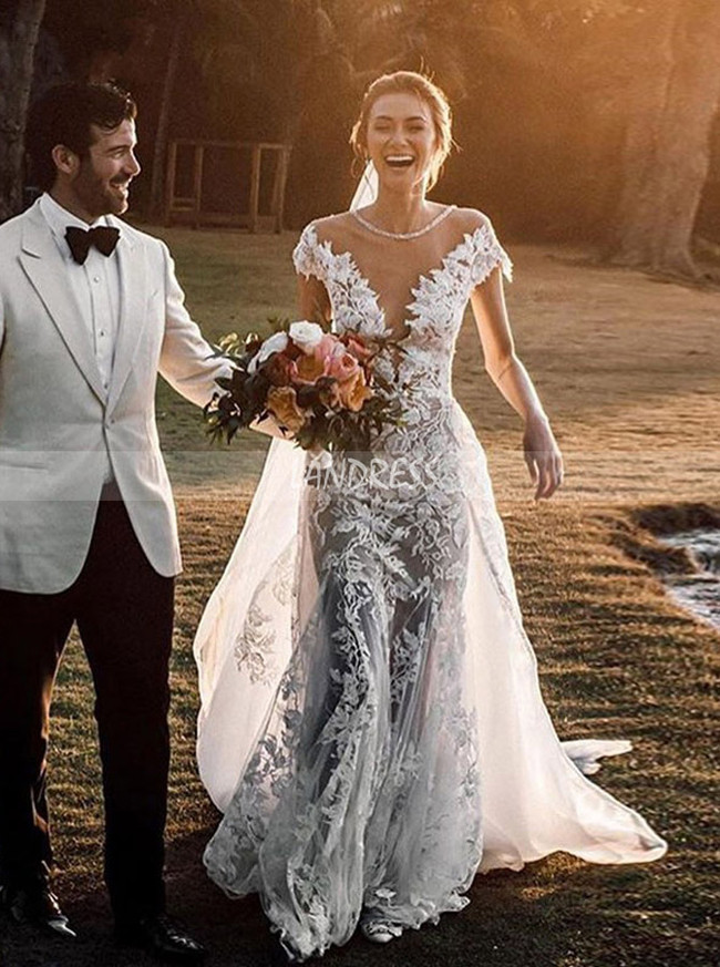 Stunning Wedding Dress,Mermaid Wedding Dress with Detachable Overskirt,12145