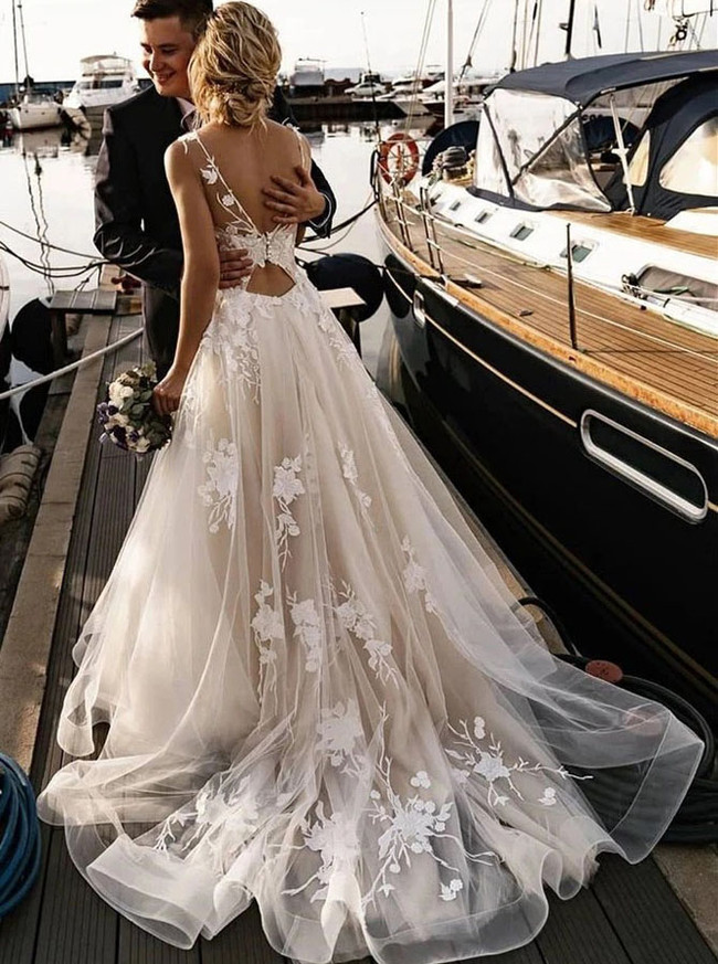 A-line Tulle Wedding Dress,Destination Wedding Dress,12147