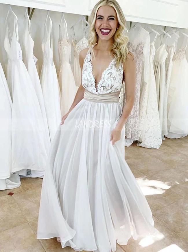 Boho Simple Wedding Dress,Garden Beach Wedding Dress,12148
