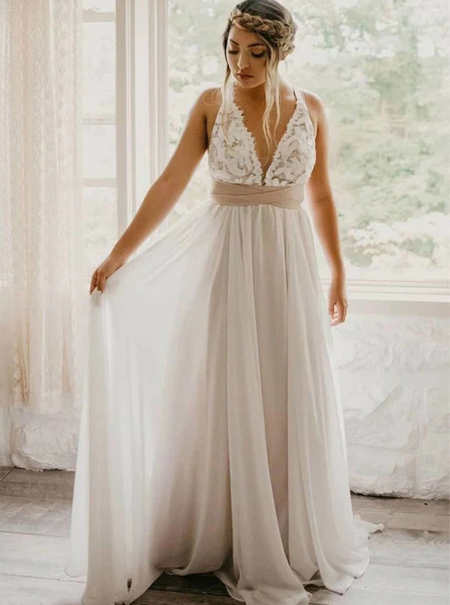 Boho Simple Wedding Dress,Garden Beach Wedding Dress,12148