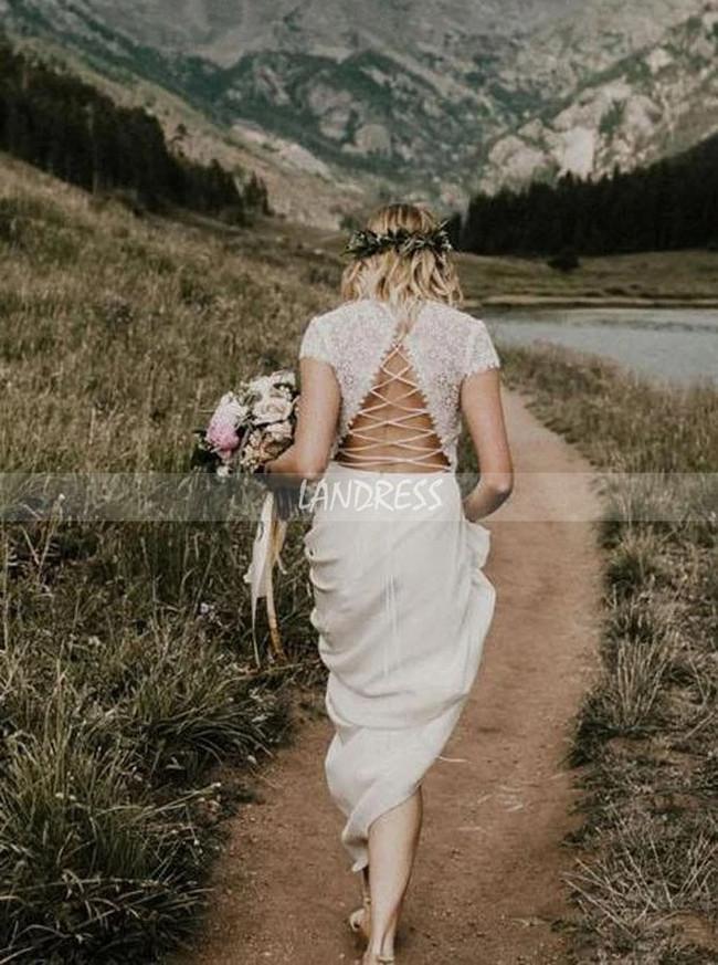 Sheath Wedding Dress with Short Sleeves,Open Back Wedding Dress,12149