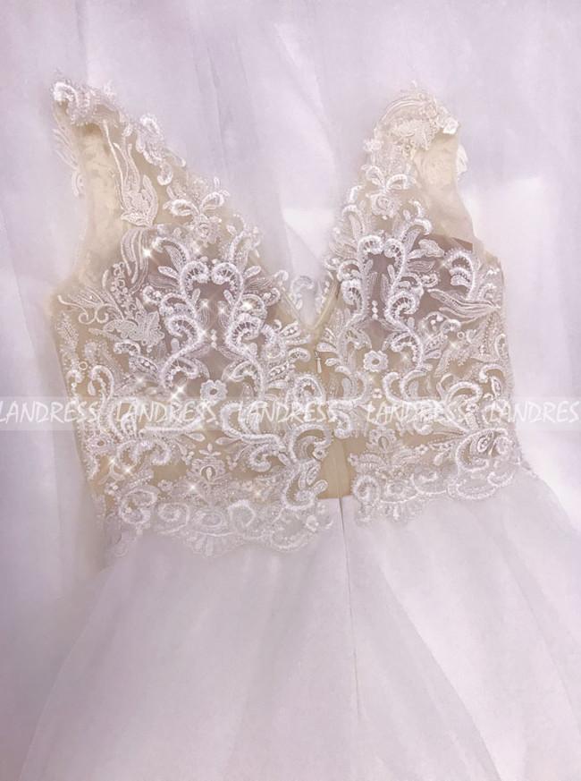 Simple V-neck Wedding Dress,Destination Beach Wedding Dress,12151