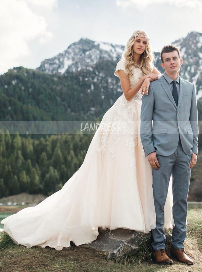A-line Wedding Dress with Short Sleeves,Rustic Wedding Dress,12152