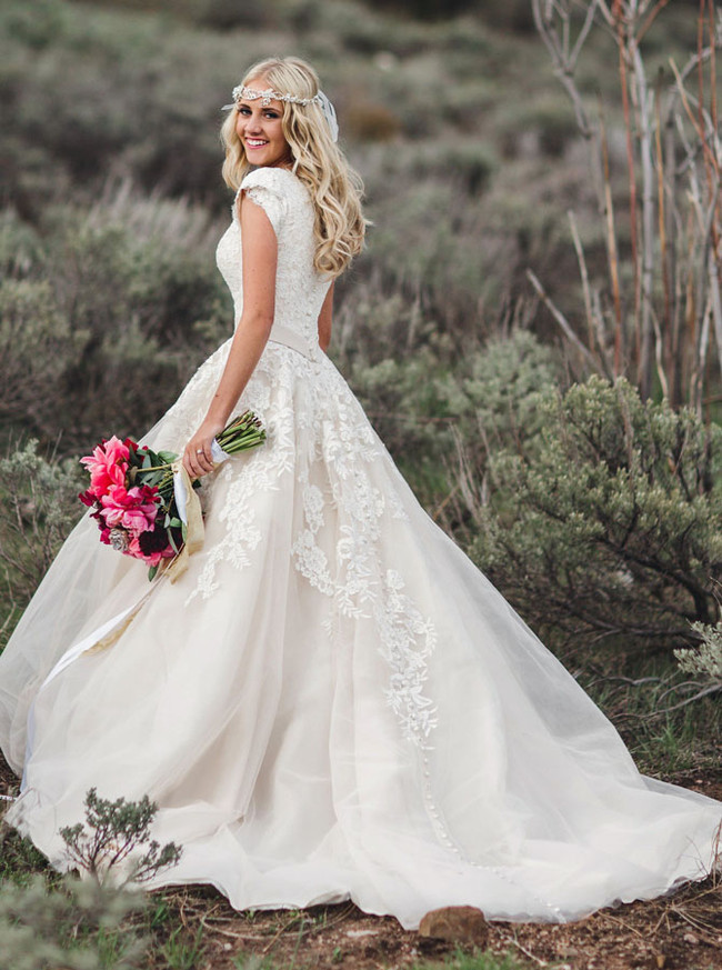 A-line Wedding Dress with Short Sleeves,Rustic Wedding Dress,12152